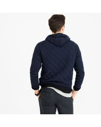J.Crew - Blue Quilted Pullover Hoodie for Men - Lyst