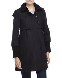 DKNY | Gray Colby Hooded Babydoll Coat | Lyst
