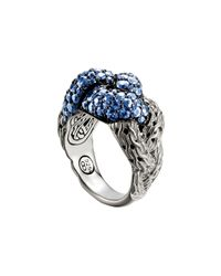 John Hardy - Metallic Classic Chain Silver Lava Large Braided Ring With Blue Sapphire - Lyst