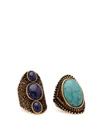 Forever 21 - Blue Faux Stone Cocktail Ring - Lyst