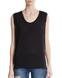 David Lerner | Black Pocket Cap Sleeve Tee | Lyst