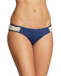 Lucky Brand | Blue Crochet Detail Hipster Bikini Bottom | Lyst