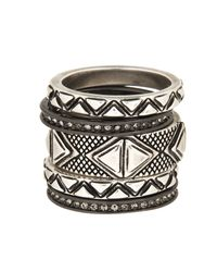 House of Harlow 1960 | Metallic Mesa Stack Rings | Lyst