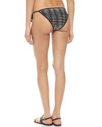 Shoshanna - Striped String Bikini Bottoms - Black/white - Lyst