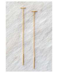 Chan Luu | Metallic Gold Bar Chain Thread Earrings | Lyst