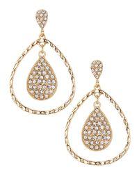 R.j. Graziano - Metallic Crystal Concentric Teardrop Earrings - Lyst