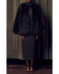 Katie Ermilio - Gray Lace Open Back Sheath Dress - Lyst