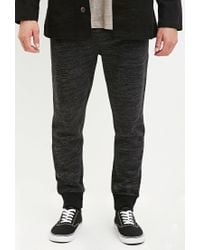 Forever 21 | Black Marled Drawstring Joggers for Men | Lyst