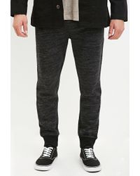 Forever 21 - Black Marled Drawstring Joggers for Men - Lyst