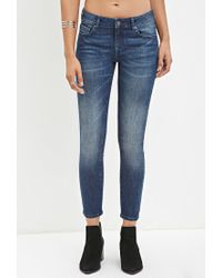 Forever 21 - Blue Low-rise Skinny Ankle Jeans - Lyst