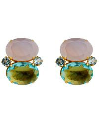 Bounkit | Chalcedony & Blue Quartz Button Earrings | Lyst
