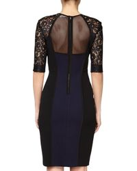 Rebecca Taylor - Black Two-Toned Lace and Jersey Dress - Lyst