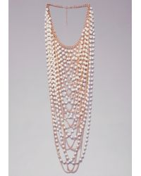 Bebe | Metallic Pearl Statement Necklace | Lyst