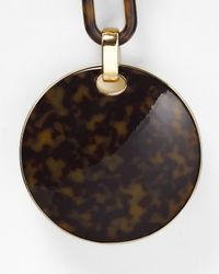 Michael Kors - Brown Tortoise Print Link Disk Necklace 32 - Lyst