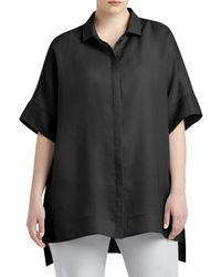 Lafayette 148 New York | Black Andra Short-sleeve Blouse | Lyst