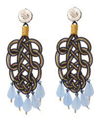 Anna E Alex - Blue Rhodium-plated Silver Velvet Ornate Drop Earrings - Lyst