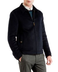 Ted Baker | Blue Maxwell Drawn Wool Harrington Jacket for Men | Lyst