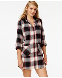 Lucky Brand | Black Long Sleeve Flannel Sleepshirt | Lyst