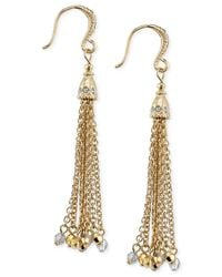 2028 | Metallic Gold-tone Tassel Drop Earrings | Lyst