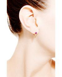 Janis Savitt - Metallic Chain Hoop Ruby Earrings - Lyst