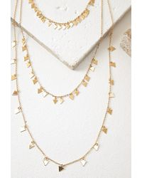 Forever 21 | Metallic Triangle Layered Necklace | Lyst