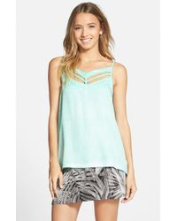 RVCA - Green 'obviously' Cutout Top - Lyst