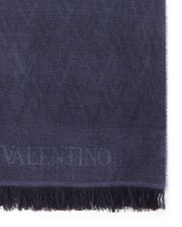 Valentino | Blue Logo Scarf for Men | Lyst