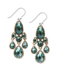 Lucky Brand - Green Goldtone Jewel Teardrop Chandelier Earrings - Lyst