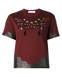 Toga - Black Leather Trimmed Embellished T-shirt - Lyst