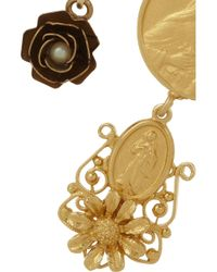 Dolce & Gabbana - Metallic Madonne Gold-Plated Faux Pearl Clip Earrings - Lyst