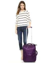 "Lipault | Purple Foldable 22"" Wheeled Carry On Bag - Teal 