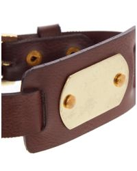 ASOS | Brown Leather Bracelet with Id Tag for Men | Lyst