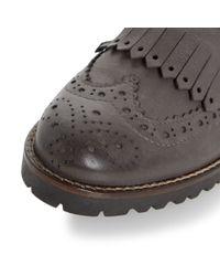 Dune Black | Gray Felton Fringe Detail Monk Shoes | Lyst