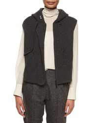 Brunello Cucinelli - Gray Ribbed Trench-detail Cashmere Vest - Lyst