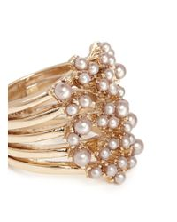 Lulu Frost - Metallic 'jackie' Glass Seed Pearl Adjustable Five Prong Ring - Lyst