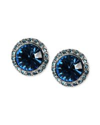 Givenchy - Blue Silvertone Aqua Swarovski Element Button Earrings - Lyst