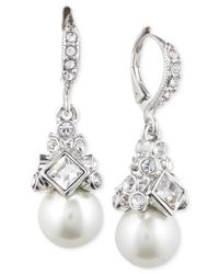Givenchy | White Imitation Rhodium Crystal And Imitation Pearl Small Drop Earring | Lyst
