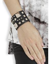 Valentino | Metallic Rockstud Large Black Leather Cuff | Lyst