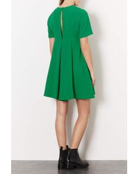 TOPSHOP | Green Crepe Fit and Flare Dress | Lyst