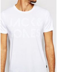 Jack & Jones | White T-shirt With Emroidered Logo for Men | Lyst