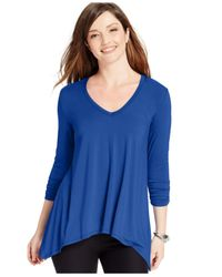 Karen Kane | Blue Ruched-sleeve Trapeze Top | Lyst
