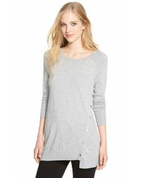 Halogen | Gray Asymmetrical Snap Detail Lightweight Tunic | Lyst