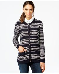 Tommy Hilfiger | Blue Textured-stripe Cardigan | Lyst