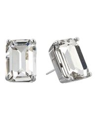 kate spade new york | Metallic Kate Spade Emerald Cut Stud Earrings | Lyst