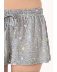 Forever 21 - Gray Crazy Hearts Pj Set - Lyst