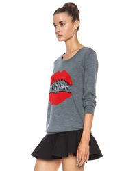 Markus Lupfer - Red Bisous Smacker Lip Nat Merino Wool Sweatshirt - Lyst