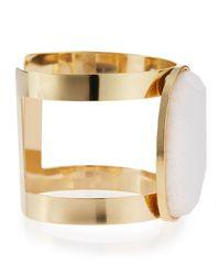 Panacea - Metallic White Stone Cuff Bracelet - Lyst