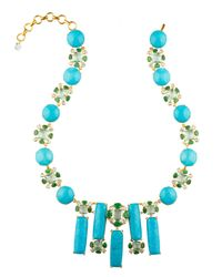 Bounkit | Faceted Blue Quartz, Emerald, Blue Topaz, And Turquoise Necklace | Lyst