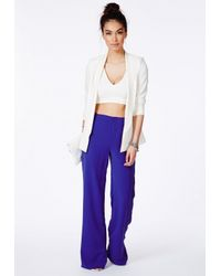Missguided - Megane Cobalt Blue High Waisted Palazzo Trousers - Lyst