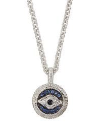Judith Ripka | Blue Pav Sapphire Evil Eye Charm Necklace | Lyst